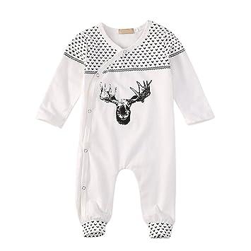moresave bebé BARBOTEUSE blanco manga larga Niños Traje Body pijamas para 0 – 18 meses,