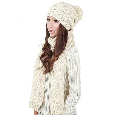 a7925abd5ad Tonsee® 1Réglez femmes chaud laine tricot Capuche Écharpe Châle Caps  Chapeaux Costume (Blanc)  Amazon.fr  Vêtements et accessoires