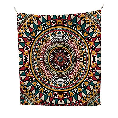 Tribalspace tapestryAfrican Folkloric Tribe Round Pattern with Ethnic Colors Aztec Artwork 54W x 84L inch Wall Hanging tapestryJade Ruby and Mustard ()