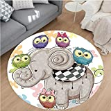 Nalahome Modern Flannel Microfiber Non-Slip Machine Washable Round Area Rug-toon Elephant And Owls On A Floral Background Animal Love Big Eyes Boys Girls Decor Multi area rugs Home Decor-Round 71''