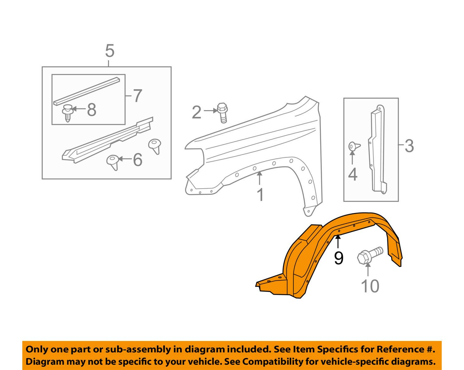 amazon com toyota 53876 35150 fender liner automotive Fender Stratocaster Schematic Diagram