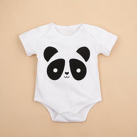 Guguogo Verano O-Cuello Corto Mangas Unisex Bebé Pelele con Lovely Panda Patrón Impresión white