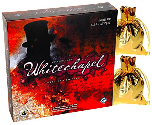 Letters from Whitechapel Board Game _ Deluxe Revised Edition _ for 2 to 6 Players _ Bonus Two Gold Metallic Cloth Drawstring Pouches _ Bundled Items (Jack The Ripper Game compare prices)