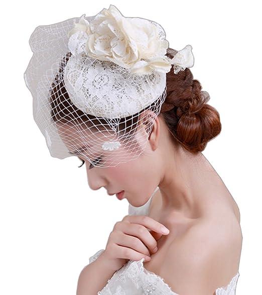 YSJOY Luxury Lace Sinamay Veil Mesh Simulation Flower Fascinators Derby Hat  1920s British Bowler Hat Wedding 1848b7c3a9d
