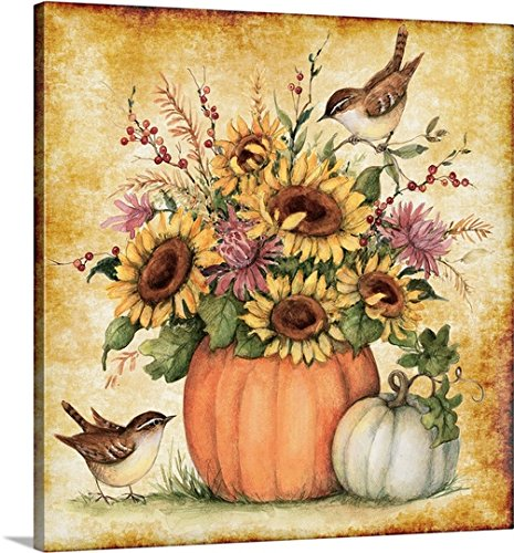 Susan Winget Gallery-Wrapped Canvas entitled Pumpkin Sunflowers