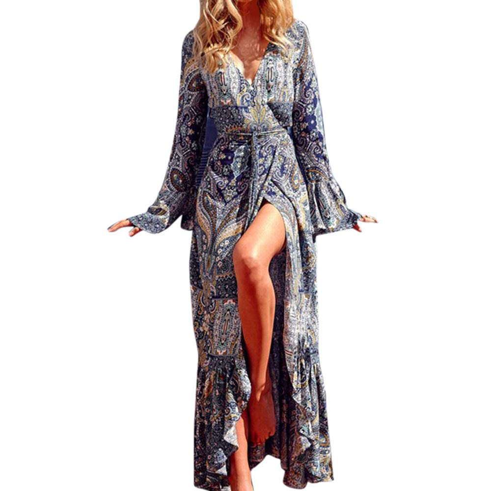 Ulanda 2018 Autumn Women Sexy Long Sleeves V-Neck Flare Sleeve Boho Long Maxi Dresses