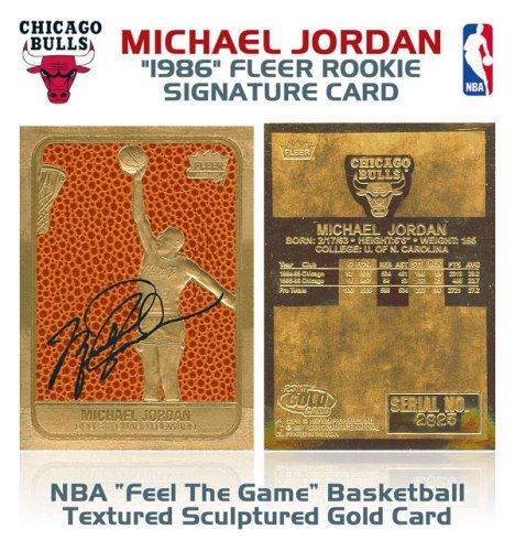 Michael Jordan Fleer Rookie Feel the Game Gold Sig Card ()