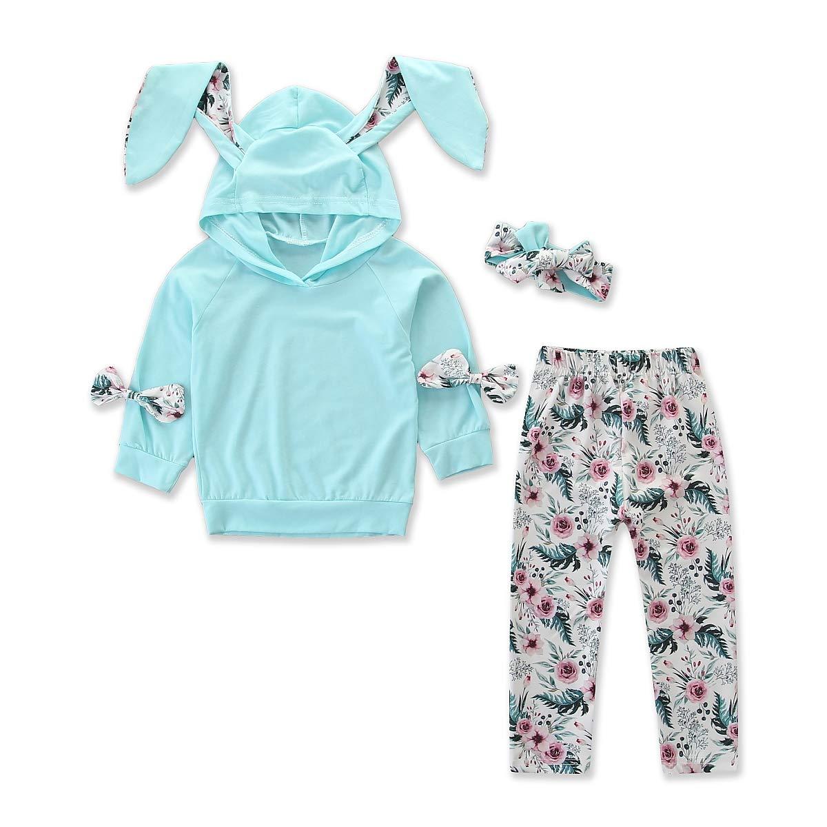 para reci/én Nacidos con Orejas de Conejo ni/ñas Conjunto de ch/ándal para beb/é Pantalones Florales y Diadema Floral con Capucha ni/ños 3 Piezas