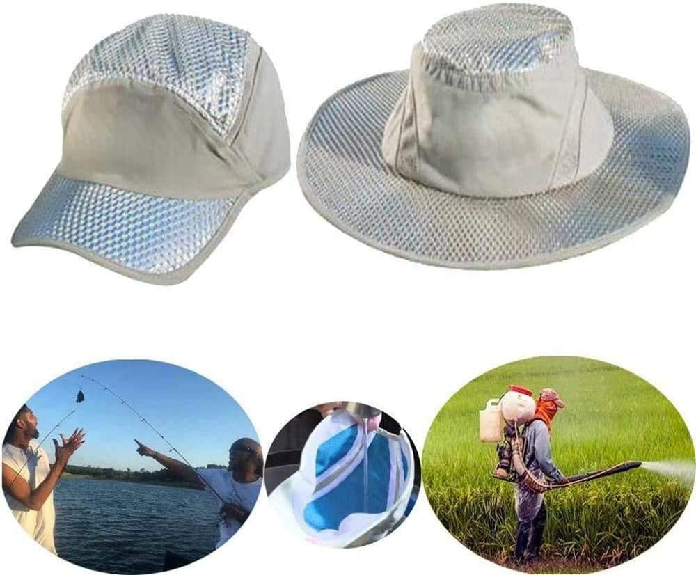 2 PCS Anti-UV Sunstroke-Prevented Cooling Hat,Lined with Evaporative PVA Materal for Fast Cooling Relief,Breathable UPF Protection Cap for Hiking Hunting Camping Outdoor Grey