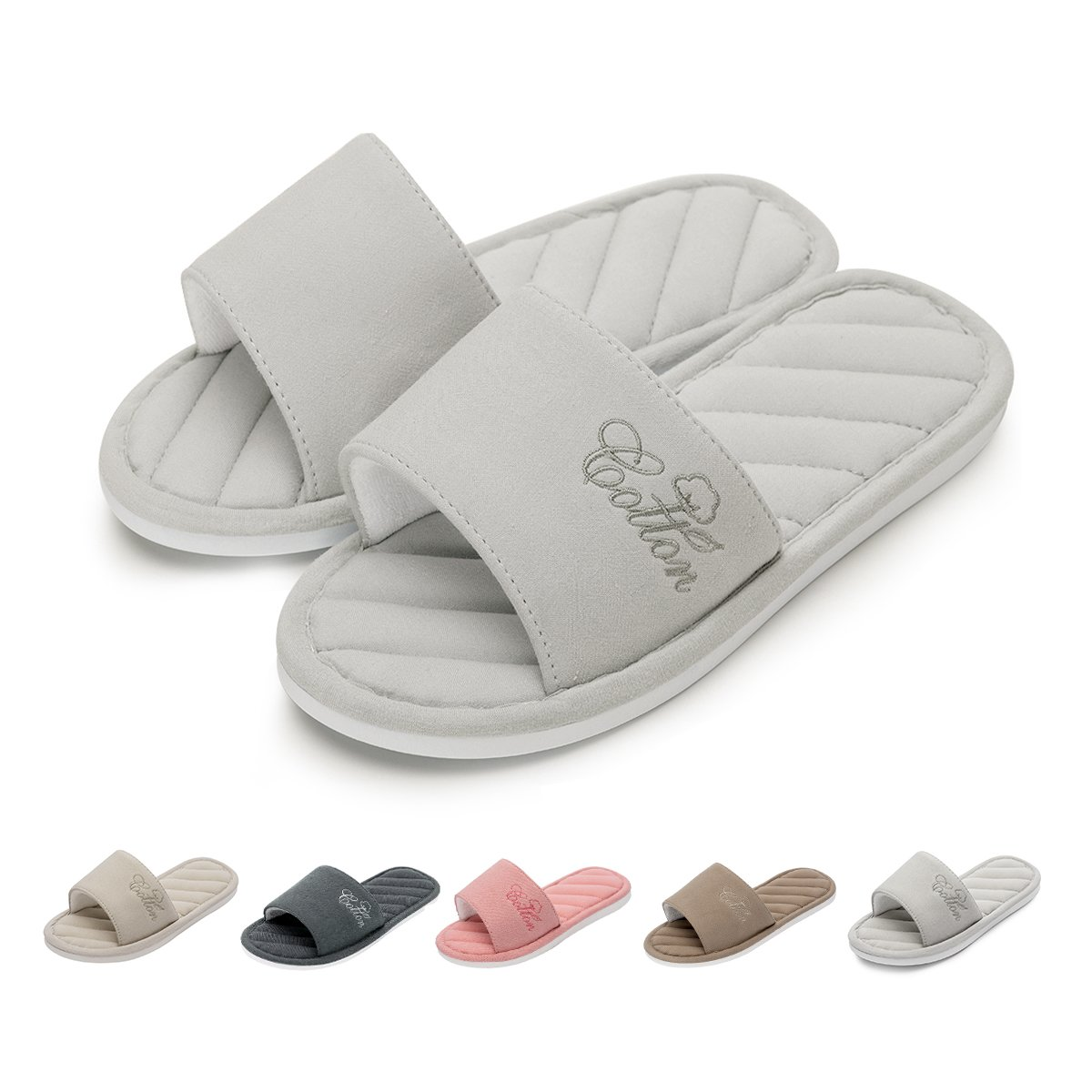 Caramella Bubble OpenToeKnitted CottonSlippers| SliponMemory Foam CoupleSlippers| Anti-Slip Indoor Outdoor HouseSlippers (5.5-6.5, Light Grey)