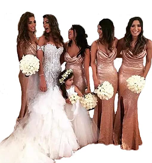 TulBridal Womens Spaghetti Strapes Rose Gold Sequins Mermaid Bridesmaid Dresses Wedding Prom Gowns