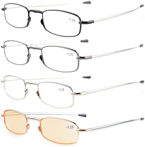 3-Pack Telescopic Arms Folding Reading Glasses With Flip-Top Case