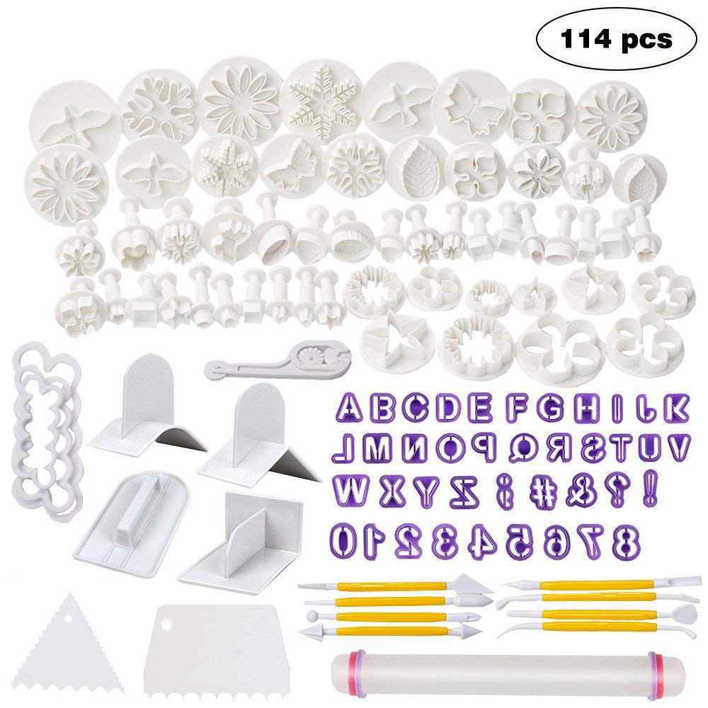 Full Fondant Cake Decorating Tools (53pcs) - Included Fondant Flower Cutters Icing Plunger Cutters Letters and Numbers Mold Fondant Rolling Pin and Smoother