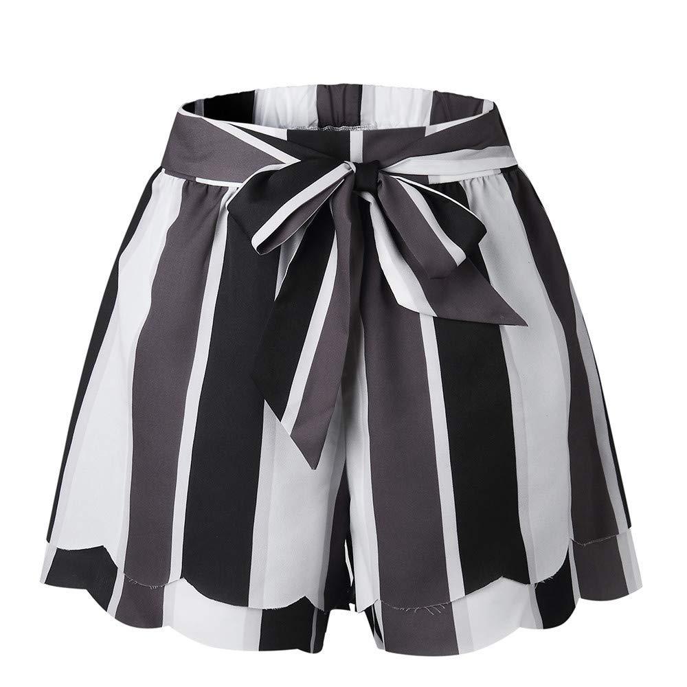 HENWERD Women's Casual Elastic Waist Summer Shorts Drawstring Jersey Walking Shorts (Black,XL)