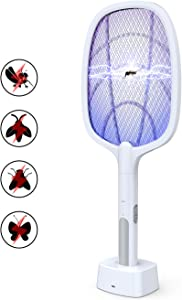 imirror Bug Zapper, Mosquito Killer Mosquitoes Trap Lamp & Racket 2 in 1, USB Rechargeable Electric Fly Swatter for Home and Outdoor Powerful Grid 3-Layer Safety Mesh Safe to Touch