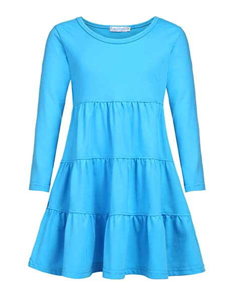 76ae41c9f15 Arshiner Girls' Super Soft Cotton Long Sleeve Tiered Dress, Blue, 90(Age