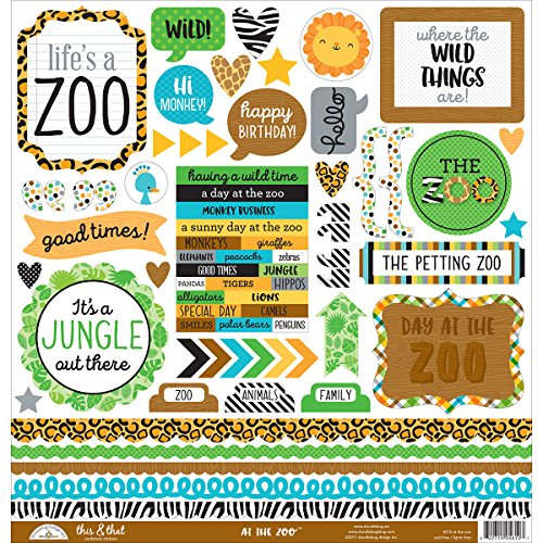 DOODLEBUG At The Zoo Cardstock Stickers 12