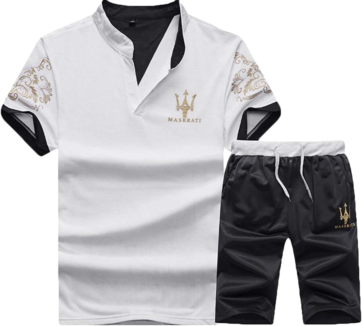 Men 2 Piece Outfits Sets Casual Active Summer Shirt Shorts Tracksuits