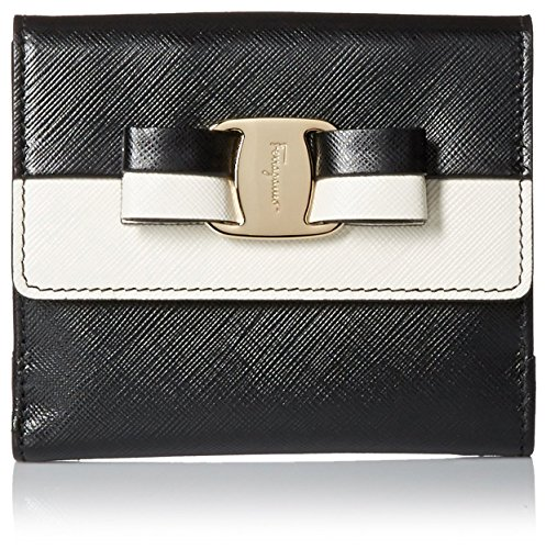 Salvatore-Ferragamo-Womens-Vara-French-Wallet-BlackWhite