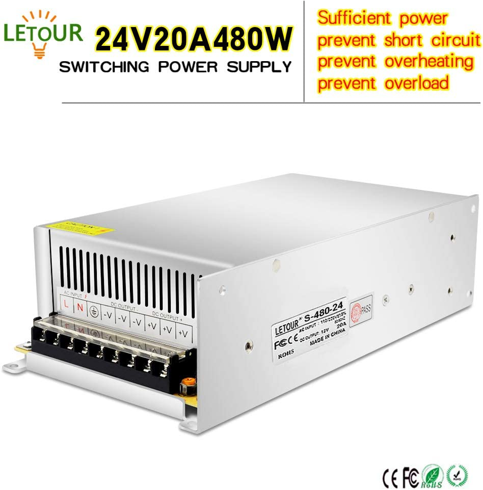LETOUR LED Power Supply 24V 20A 480W AC 96V-240V Converter Adapter DC S-480W-24 Power Supply for LED Lighting,LED Strip,CCTV (24V 20A 480W)