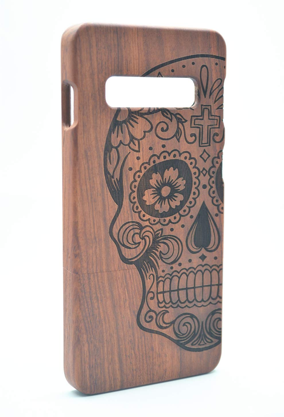 PhantomSky Stylish Carved Pattern Wooden Case for Samsung Galaxy S10e, Premium Quality Handmade Natural Wood Hard Case Non-Slip Shockproof Design Protective Cover - Rosewood Skull by PhantomSky