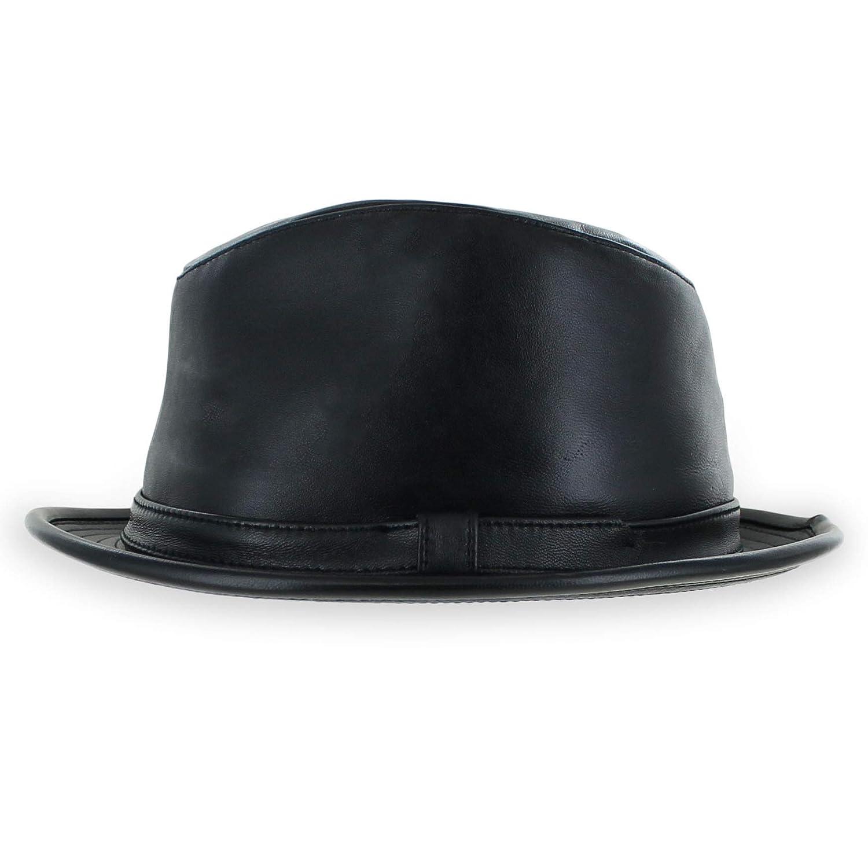 Belfry Leather Stingy Brim Dress Fedora Mens Womens Black