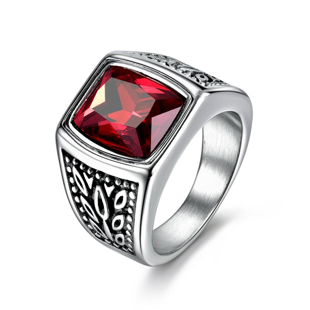 MASOP Mens Stainless Steel Identify Wide Ring Large Red Garnet Color Zircon Ring Size 10