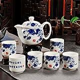 Tea set,1 pots, 6 cups. Ceramic coating Stainless steel filter Vintage Household Office tea-B