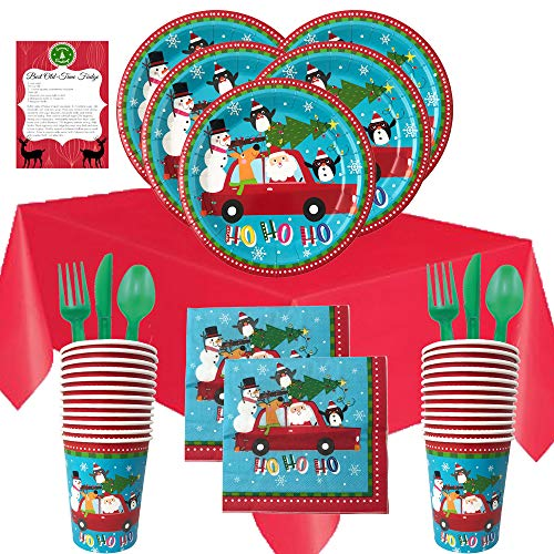 Christmas Disposable Dinnerware Set for Your Holiday Christmas Party – Santa Claus and Friends – Dinner Plates, Cups…
