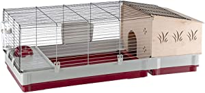 Ferplast Rabbits and Guinea Pigs cage KROLIK 140 Plus, Small animalsand Rabbit House, Separate Wooden House, Accessories are Included, 142 x 60 x h 50 cm Bordeaux