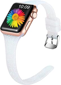 Getino Slim Sport Bands Compatible with Apple Watch 40mm 38mm iWatch SE & Series 6 & Series 5 4 3 2 1, Soft Silicone Shiny Glitter Strap for Women Girls Kids, Shiny Silver, M/L