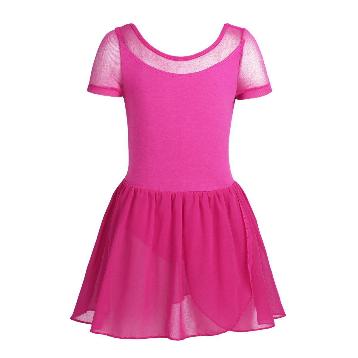 dPois Girls Mesh Short Sleeves Sweat-Absorbent Ballet Dance Leotard Ruffled Chiffon Skirt Dress