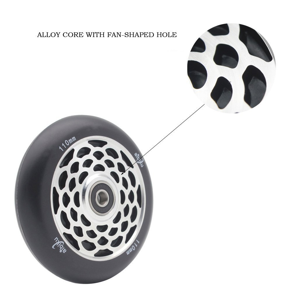 aibiku 110mm Hollow Core Pro Scooter Wheel with Abec-11 Bearings fit for Fuzion//Envy//MGP//Lucky TFOX//Vokul Pro Scooters