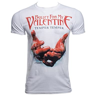 Bullet For My Valentine Temper Temper Blood Hands T Shirt Weiß