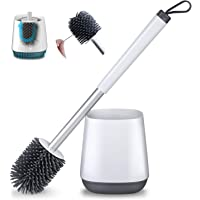 POPTEN Toilet Brush and Holder Set for Bathroom with Aluminum Handle & Soft Silicone Bristle Sturdy Cleaning Toilet Bowl…