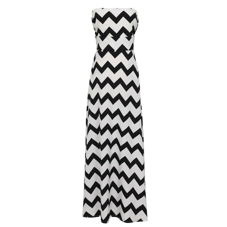 Yantu Sommerkleid Damen Lang Chiffon High Waist Striped Sleeveless Beach  Kleid Partykleid Elegant günstig