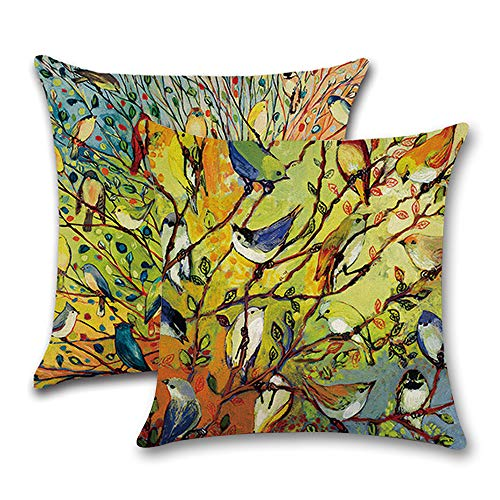 INSHERE 2 Pack Tree Throw Pillow Covers Case, Oil Painting Vivid Birds Cotton Linen Square Decorative Cushion Cover for Sofa, Couch, Bed Home Decor 18 x 18 Inch (2pcs Bird and Tree)