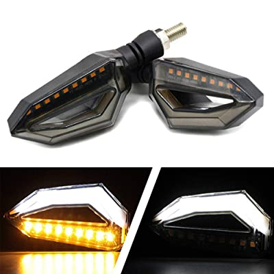 Usee LED Motorcycle Turn Signal Light Amber Daytime Running Light Indicators Blinkers White Universal DC 12V 2Pcs: Automotive