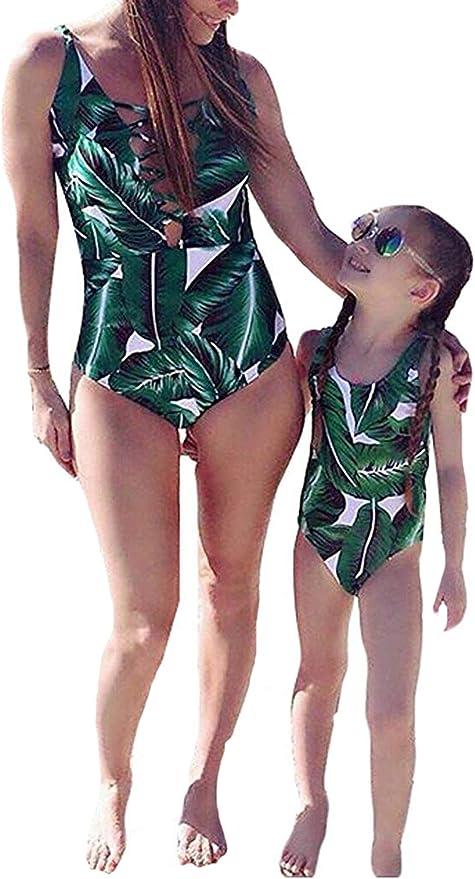 Ecupper Womens One Piece Plus Size High Waist Shapping Body Printed Swimdress with Boyshort