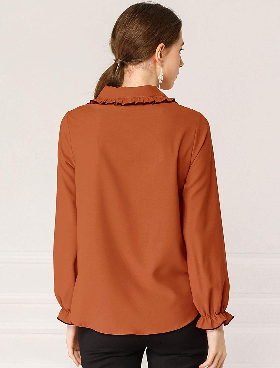 Allegra K Women's Halloween Costume Ruffle Peter Pan Collar Long Sleeves Button Up Blouse Shirt Rust Orange