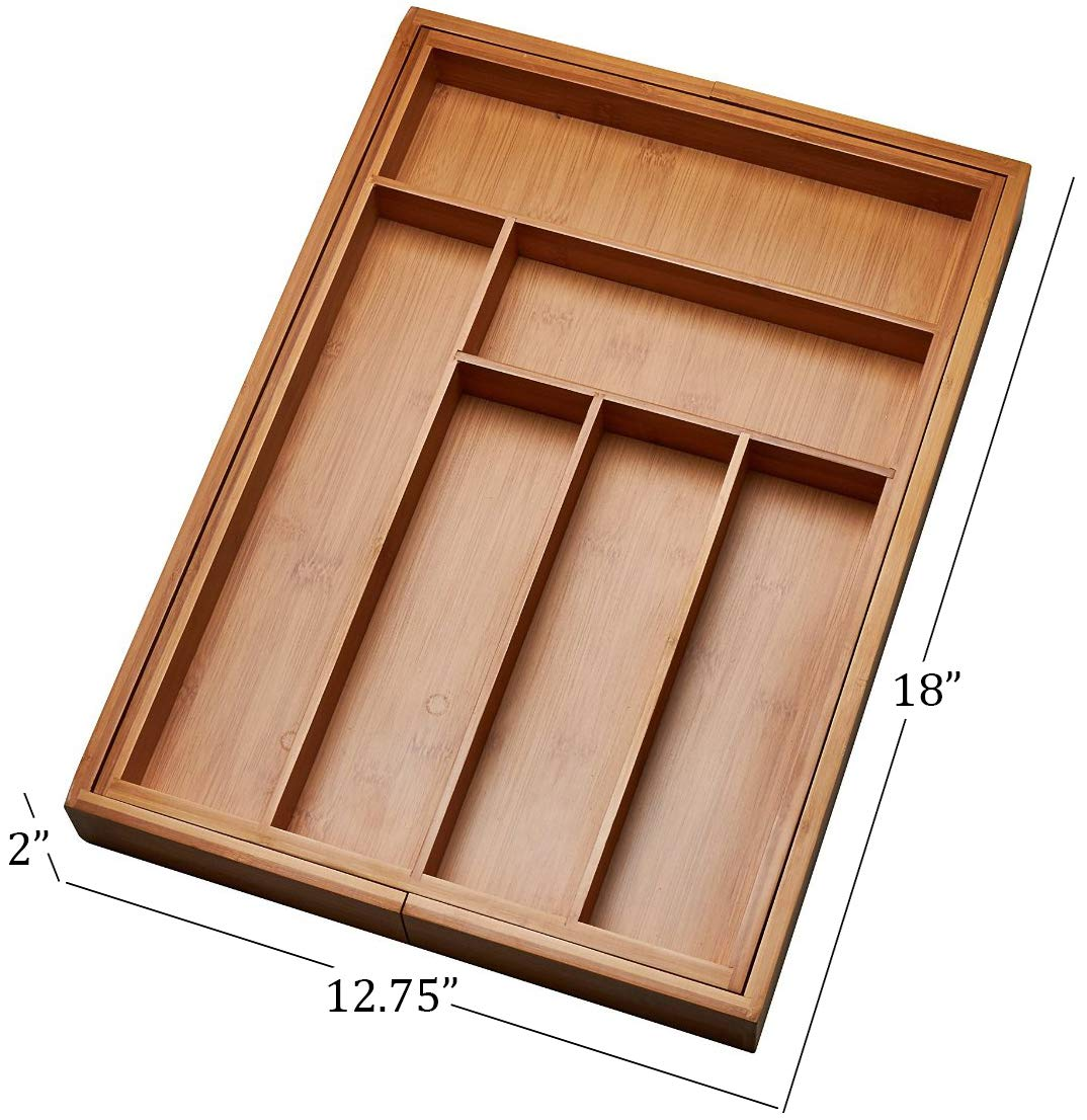Kitchen Drawer Organizer, Adjustable Drawer Dividers to Fit Snugly Into Any Kitchen Drawer. Attractive Bamboo Wood Flatware, Cutlery and Utensil Tray is Also a Great Drawer Organizer Around the Home. by Handy Laundry (Image #5)
