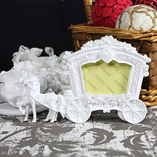FavorOnline White Wedding Horse and Carriage Photo Frame/Place Card Holder - Set of 12