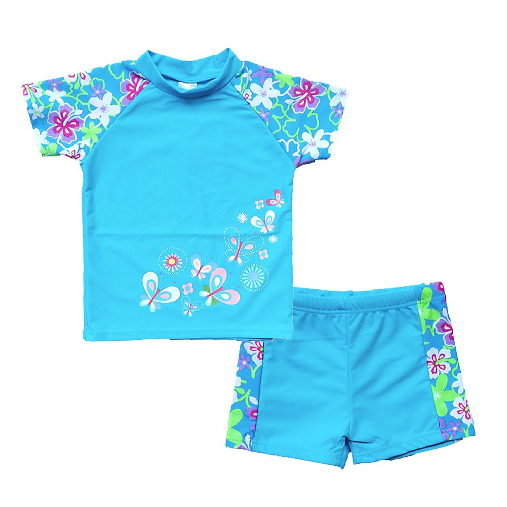 BAOHULU Girls Swimsuit UPF 50+ UV Protective 3-12 Years (8-9Y(Tag.No 10A), BlueShort)