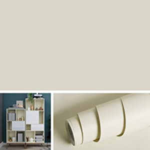 """Livelynine Solid Beige Wall Paper for Walls Contact Paper Self Adhesive Wallpaper Peel and Stick Countertops Furniture Adhesive Shelf Liners for Kitchen Cabinets Removable Waterproof 15.8""""x78.8""""Roll"""