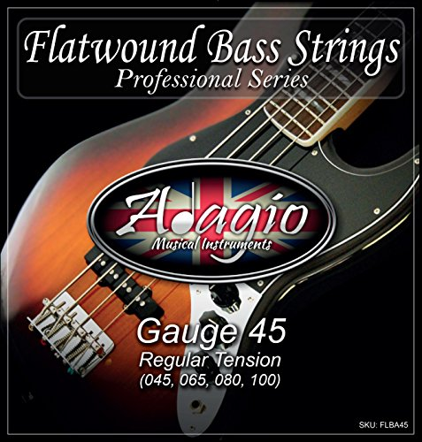 Adagio Flatwound Electric Bass Guitar Strings 45-100 Nickel Standard...