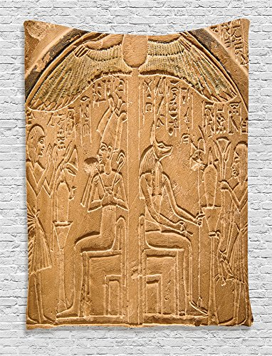 Egyptian Themed Decorations (Ambesonne Egyptian Decor Collection, Egyptian Hieroglyphics on the Wall Stone Surface Scripts Picture, Bedroom Living Room Dorm Wall Hanging Tapestry, Beige Ecru Ivory)