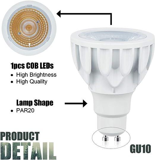 12 Watts PAR20 Short Neck LED Bulbs GU10 Base Spot Light 24/° Beam Angle 120W Equivalent for Track Lights Floodlights Recessed Lighting Warm White 3000K, 2-Pack Lustaled PAR20 LED COB Spotlights