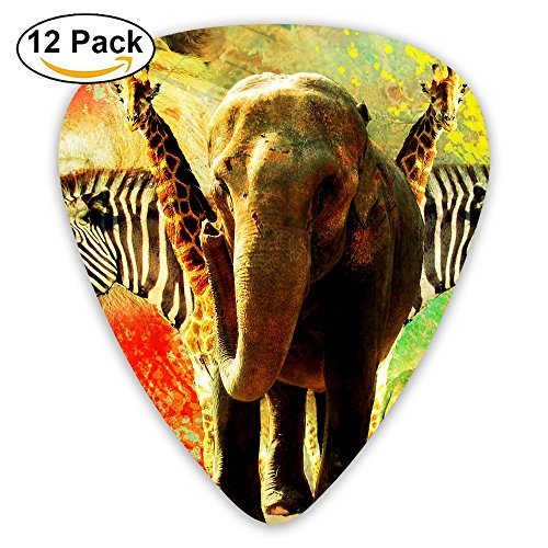 12-pack Fashion Classic Electric Guitar Picks Plectrums African Animal Collage Instrument Standard Bass Guitarist