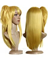 Anogol Hair Cap +Cosplay Wig Golden Synthetic Hair with 1 Ponytail