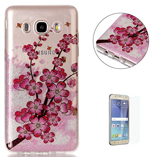 Galaxy J710/J7 2016 Case Clear, KaseHom Shining Flash Powder Rubber Cover + [Free Screen Protector] See thorough Bling Pattern Design Soft TPU Gel Skin Transparent Shockproof Shell - Plum Blossom